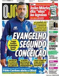 capa Jornal O Jogo de 3 julho 2021