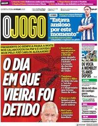 capa Jornal O Jogo de 8 julho 2021