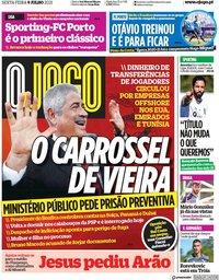 capa Jornal O Jogo de 9 julho 2021