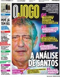 capa Jornal O Jogo de 10 julho 2021