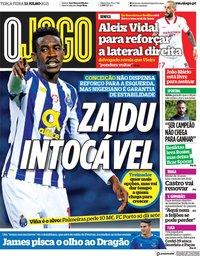 capa Jornal O Jogo de 13 julho 2021