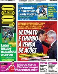 capa Jornal O Jogo de 15 julho 2021