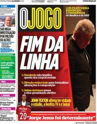 capa Jornal O Jogo de 16 julho 2021