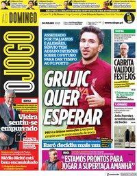 capa Jornal O Jogo de 18 julho 2021