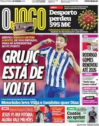 capa Jornal O Jogo de 20 julho 2021