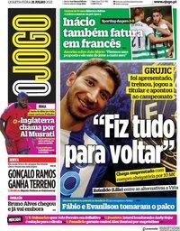 capa Jornal O Jogo de 21 julho 2021