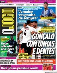 capa Jornal O Jogo de 23 julho 2021