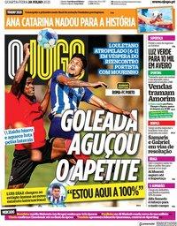 capa Jornal O Jogo de 28 julho 2021