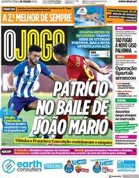 capa Jornal O Jogo de 29 julho 2021