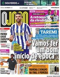 capa Jornal O Jogo de 31 julho 2021