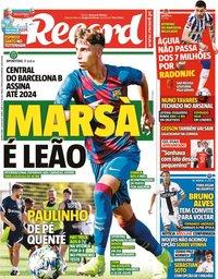 capa Jornal Record de 1 julho 2021