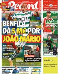 capa Jornal Record de 3 julho 2021