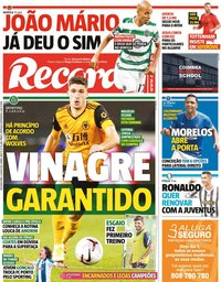 capa Jornal Record de 5 julho 2021