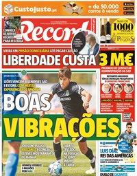 capa Jornal Record de 11 julho 2021