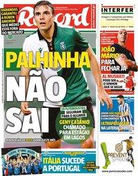 capa Jornal Record de 12 julho 2021