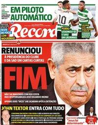 capa Jornal Record de 16 julho 2021