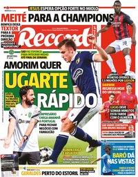 capa Jornal Record de 18 julho 2021