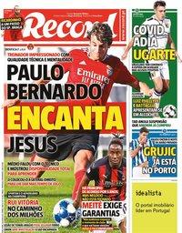 capa Jornal Record de 20 julho 2021