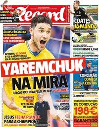 capa Jornal Record de 22 julho 2021