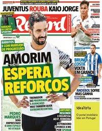 capa Jornal Record de 27 julho 2021