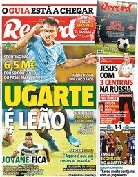 capa Jornal Record de 29 julho 2021