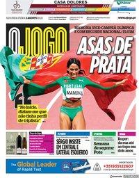 capa Jornal O Jogo de 2 agosto 2021