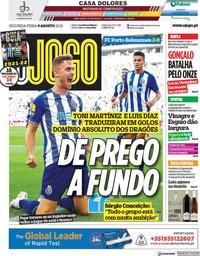 capa Jornal O Jogo de 9 agosto 2021