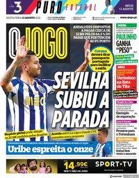capa Jornal O Jogo de 13 agosto 2021