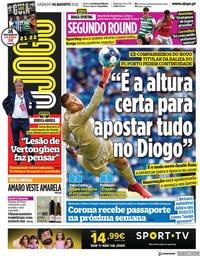 capa Jornal O Jogo de 14 agosto 2021