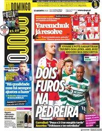 capa Jornal O Jogo de 15 agosto 2021