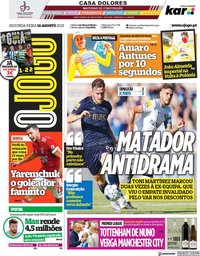 capa Jornal O Jogo de 16 agosto 2021