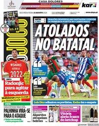 capa Jornal O Jogo de 23 agosto 2021