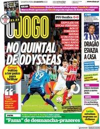 capa Jornal O Jogo de 25 agosto 2021