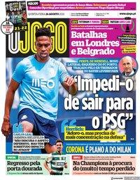 capa Jornal O Jogo de 26 agosto 2021