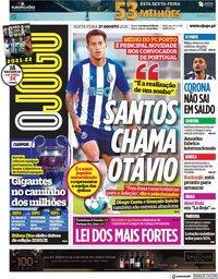 capa Jornal O Jogo de 27 agosto 2021