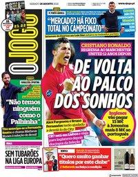 capa Jornal O Jogo de 28 agosto 2021