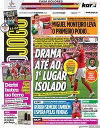 capa Jornal O Jogo de 30 agosto 2021