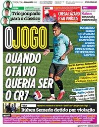 capa Jornal O Jogo de 31 agosto 2021