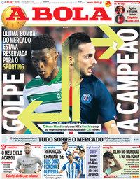 capa Jornal A Bola de 1 setembro 2021