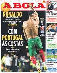 capa Jornal A Bola de 2 setembro 2021
