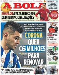 capa Jornal A Bola de 3 setembro 2021