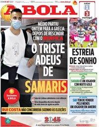capa Jornal A Bola de 5 setembro 2021