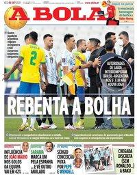 capa Jornal A Bola de 6 setembro 2021