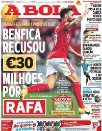 capa Jornal A Bola de 7 setembro 2021