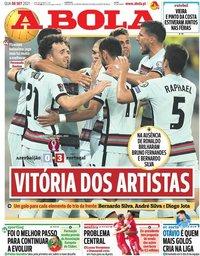 capa Jornal A Bola de 8 setembro 2021