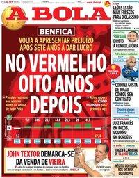 capa Jornal A Bola de 9 setembro 2021