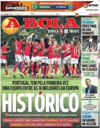 capa Jornal A Bola de 10 setembro 2021