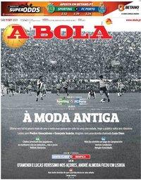 capa Jornal A Bola de 11 setembro 2021