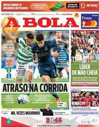 capa Jornal A Bola de 12 setembro 2021