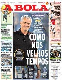 capa Jornal A Bola de 13 setembro 2021
